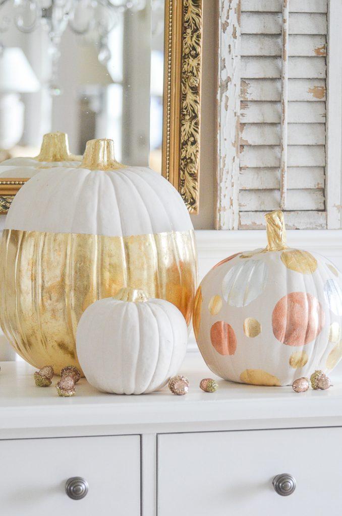 start fall gilded pumpkins
