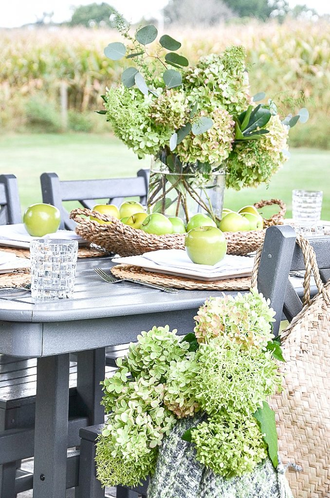 FALL TABLE WITH APPLES AND HYDRANGEAS