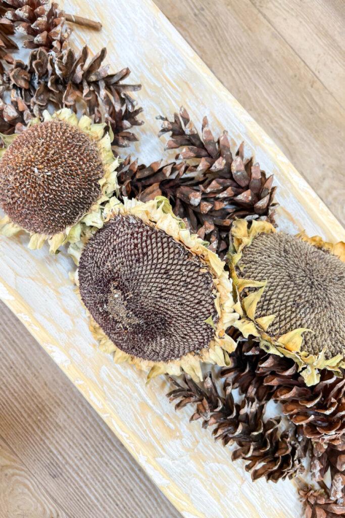 dried sunflower heads make up the center of a fall dough bowl