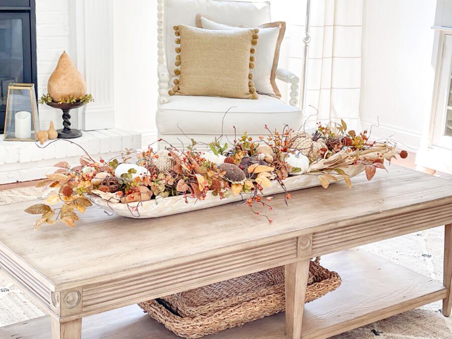 close up of beautiful fall dough bowl filled with natural organics