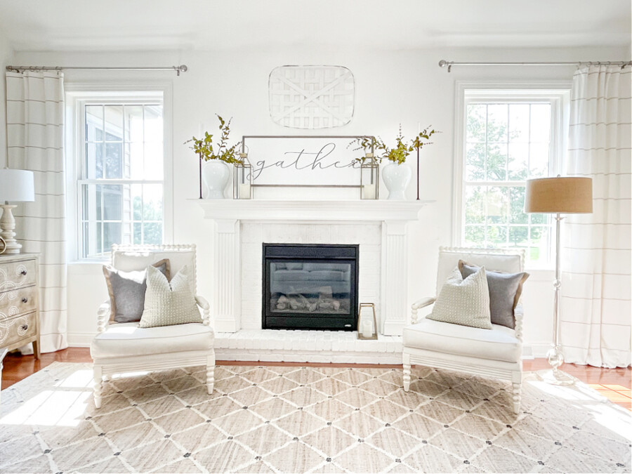 wide view of fall mantel decor