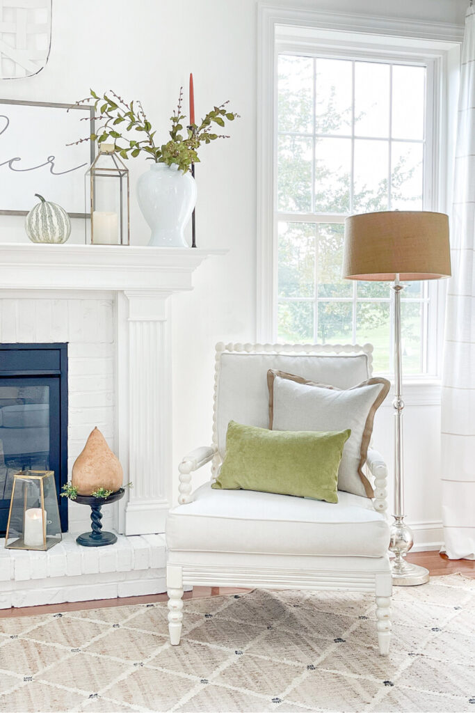 pillows for fall on a white chair
