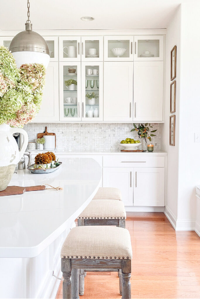 white fall kitchen dressed up for fall