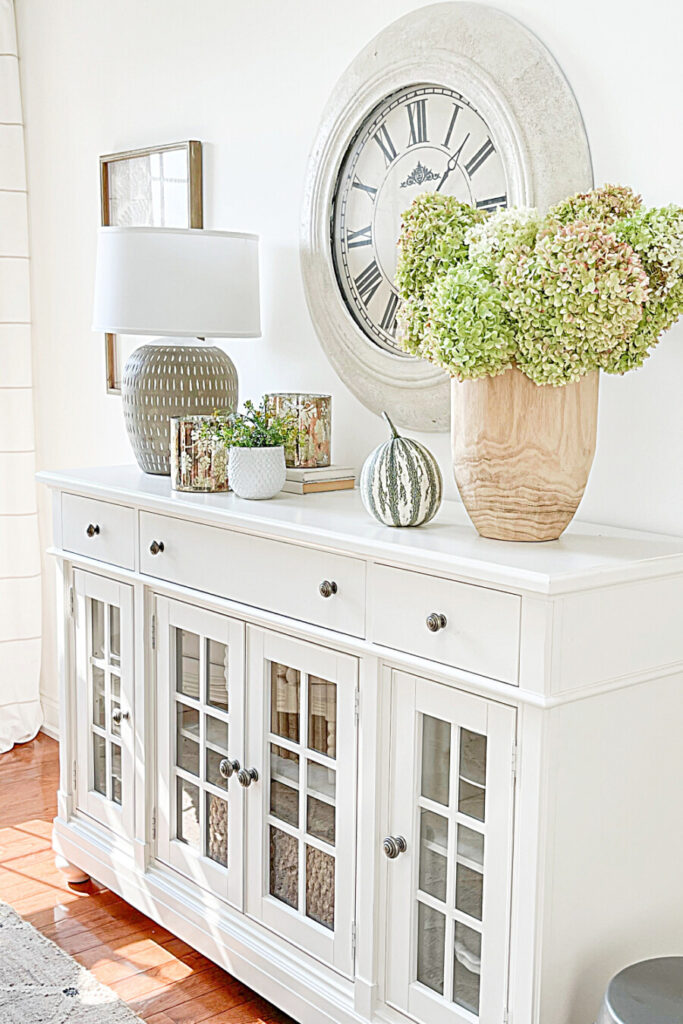 BEAUTIFUL WHITE BUFFET DECORATED FOR FALL